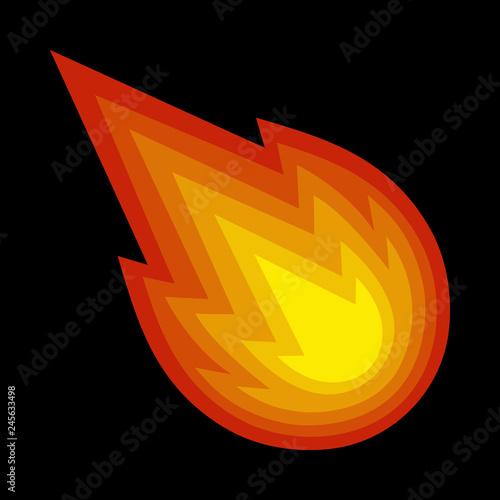 Hot Flame Fireball vector cartoon Wallpaper Mural