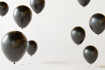 Black balloons on white background. 3d rendering