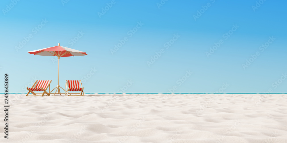 Fototapeta Beach umbrella with chairs on the sand. summer vacation concept. 3d rendering