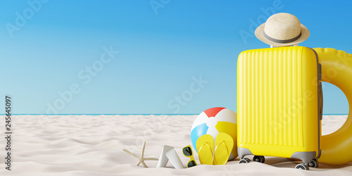 Yellow suitcase with beach accessories on sand. Travel summer vacation concept. 3d rendering