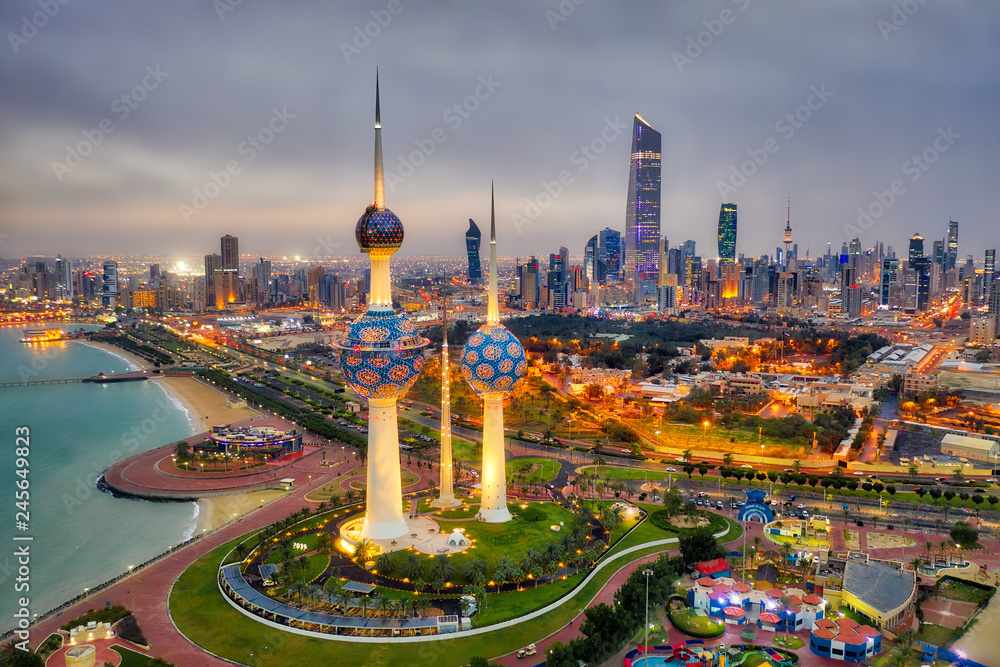 Fototapety, obrazy: Kuwait Tower City Skyline glowing at night, taken in Kuwait in December 2018 taken in hdr
