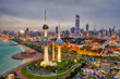 canvas print picture - Kuwait Tower City Skyline glowing at night, taken in Kuwait in December 2018 taken in hdr