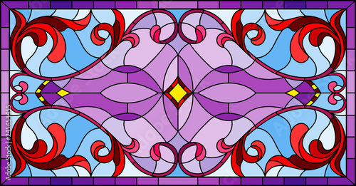 Fotografie, Obraz  Illustration in stained glass style with abstract red   swirls and leaves  on a