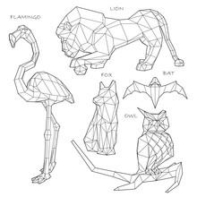 Low Poly Set Geometric Animals: Flamingo, Lion, Fox, Bat, Owl, Vector Graphic  Illustration On White Background