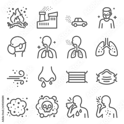 Fotografía  Dust Pollution Vector Line Icon Set