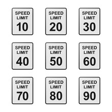 Set Of Speed Limit Sign