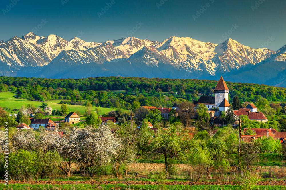 Fototapety, obrazy: Fantastic rural spring landscape with Hosman village, Transylvania, Romania, Europe