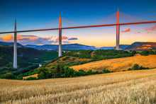 Superb Engineering Solution And Panorama, Viaduct Of Millau, Aveyron, France