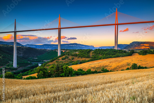 Superb engineering solution and panorama, viaduct of Millau, Aveyron, France Canvas Print