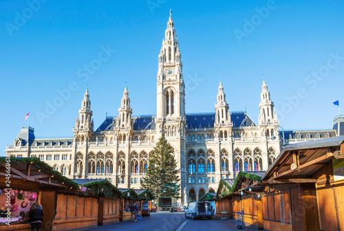 Vienna, Austria city hall. The building is built in the neo-Gothic style with a symmetrical main facade. The main facade of the town hall has 5 towers.