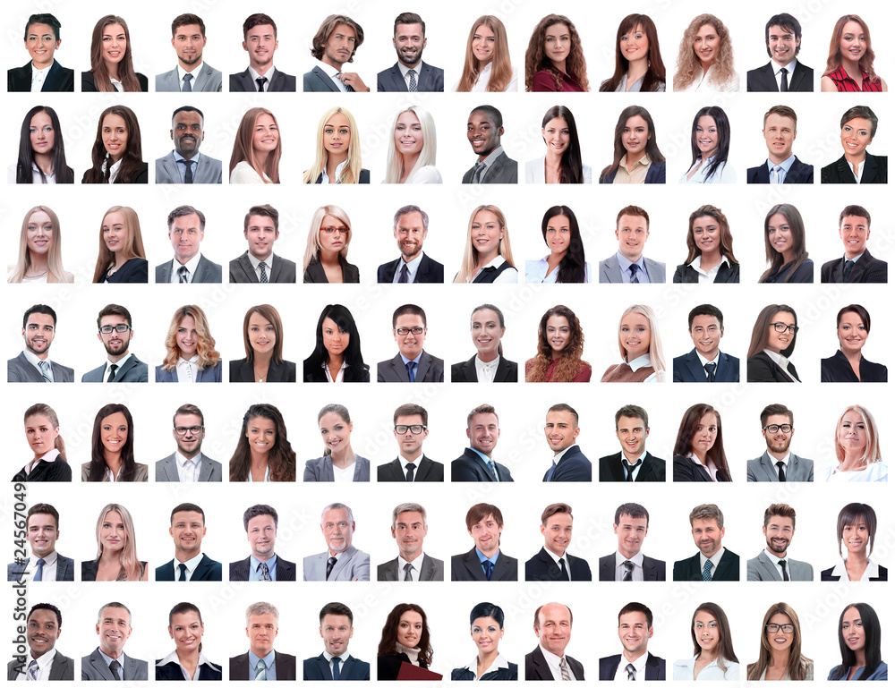 Fototapety, obrazy: portraits of successful employees isolated on a white