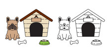 Dog Vector French Bulldog House Ball Bowl Cartoon Character Icon Logo Illustration Brown