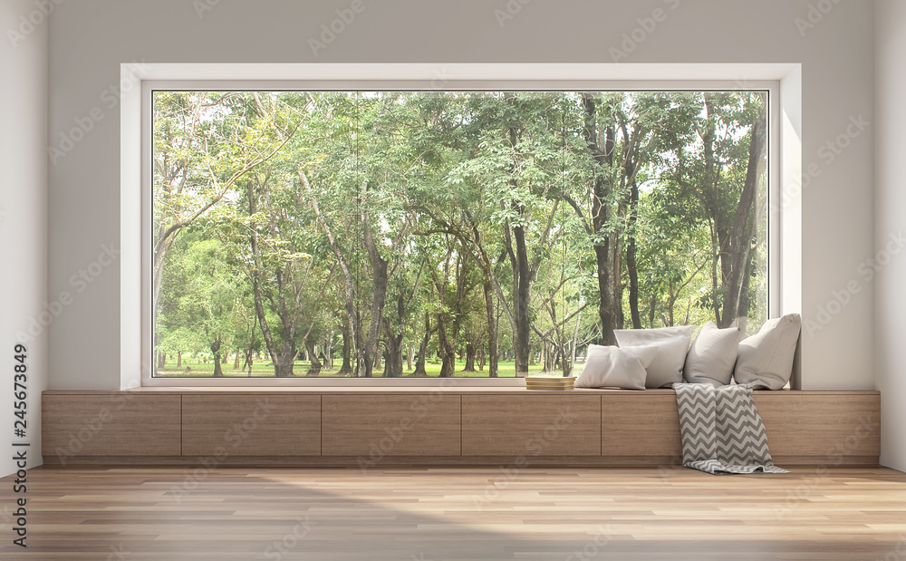 Fototapeta Side window seat 3d render.There are white room,wood seat,decorate with many pillow.There are big  windows look out to see nature view.