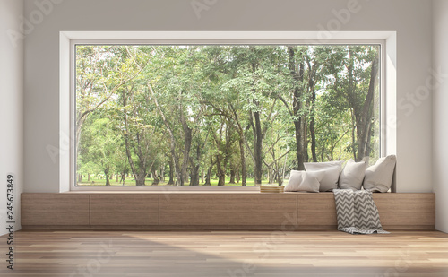 Obraz Side window seat 3d render.There are white room,wood seat,decorate with many pillow.There are big  windows look out to see nature view. - fototapety do salonu
