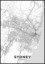 Sydney (Australia) City Map. Black And White Poster With Map Of Sydney. Scheme Of Streets And Roads Of Sydney.