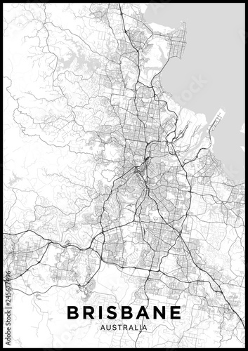 Fotografie, Obraz Brisbane (Australia) city map