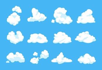 Crtani oblaci. Plavo nebo panorama nebo atmosfera berba 2D pahuljasti bijeli element ravni oblačni oblik. Set oblaka vektora