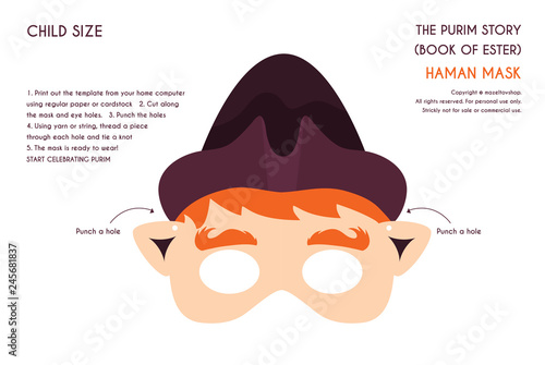 Purim story characters masks for kids -can be usrd for kids activity, party, fam Wallpaper Mural