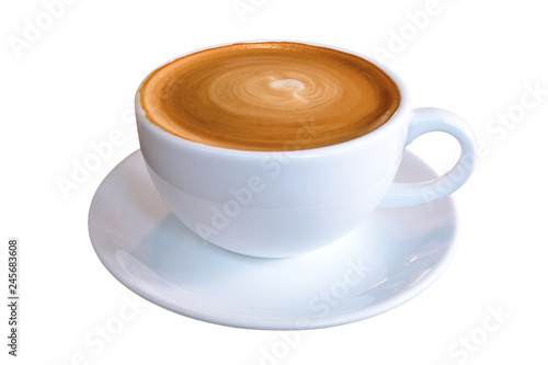 Canvastavla Hot coffee cappuccino latte in white cup with stirred spiral milk foam texture isolated on white background, clipping path included