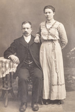 RUSSIA - CIRCA 1905-1910: Shot Of Married Couple In Studio, Vintage Carte De Viste Edwardian Era Photo