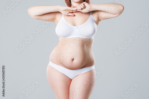 Photo Woman with fat abdomen, overweight female body on gray background
