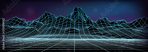 Poster de jardin Bleu nuit Abstract wireframe landscape background. Cyberspace neon blue grid. 3d mountine vector illustration.
