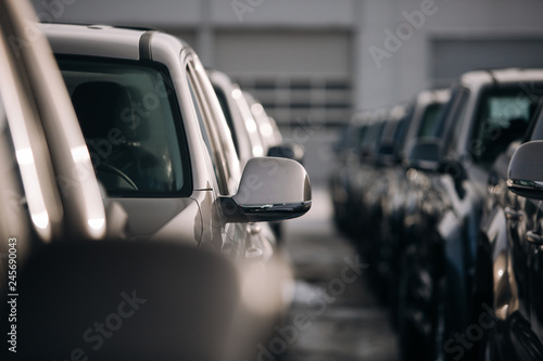 A lot of modern suv pickup at the parking Canvas Print