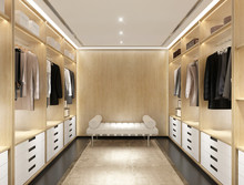 Luxury Modern Light Wood Dressing Room With Daybed