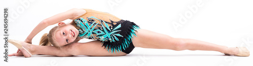 Teenager girl involved in rhythmic gymnastics White background
