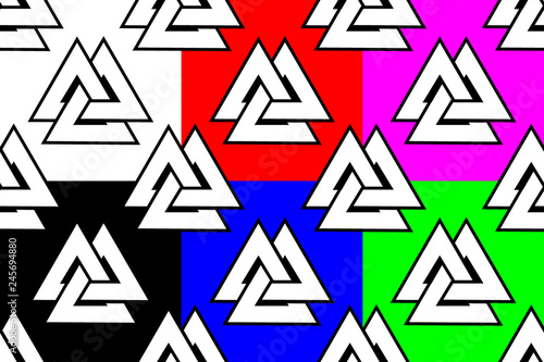 Photo  Valknut seamless pattern, Older, Three triangles (black, white, red, blue, green