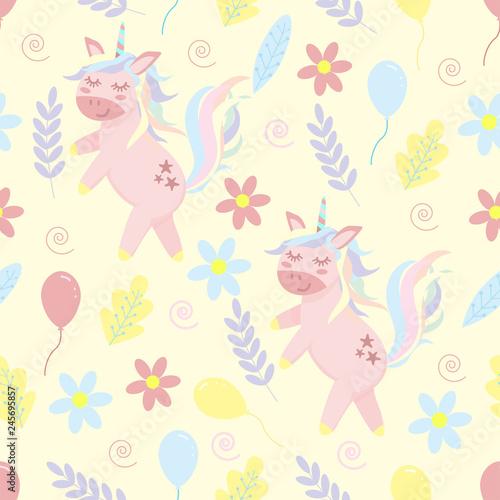 Tapety do pokoju dziewczynki  seamless-pattern-of-unicorn-and-flowers-vector-illustration-eps