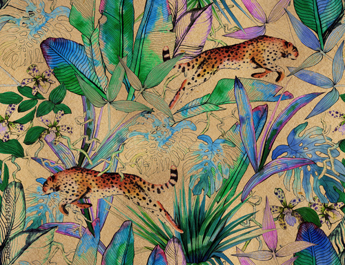 Recess Fitting Pattern Tropical seamless pattern with tropical flowers, banana leaves and panther, leopard, cougar, wildcat
