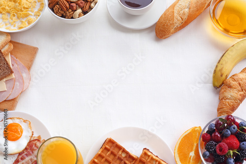 Fotografiet Healthy breakfast background
