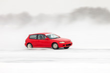 Red Car At Ice Racing