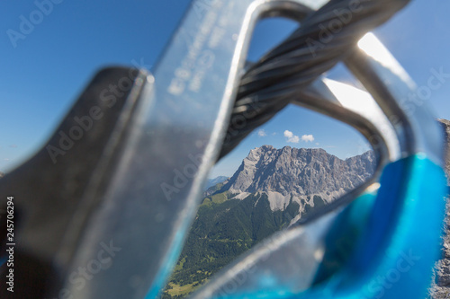 Klettersteigset Zugspitze : Klettersteigset mit blick auf die zugspitze buy this stock photo