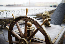 Wooden Helm Or Sailing Wheel W...