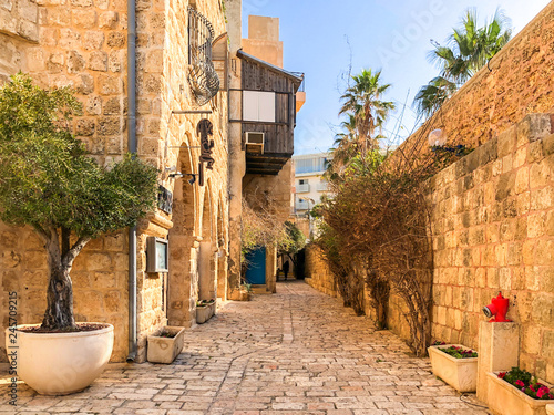 Fotobehang Oude gebouw Ancient stone streets in Artists Quarter of Old Jaffa, Israel