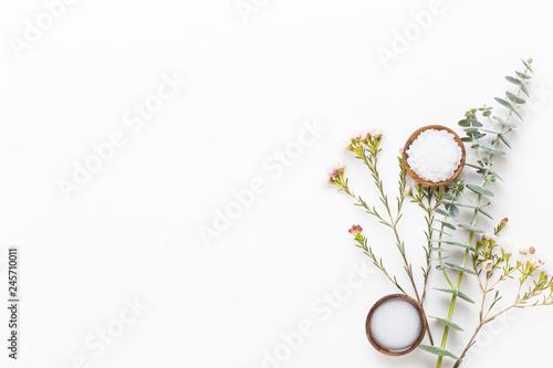 Fotografie, Obraz  Bio herbal green cosmetic arrangement, sea salt and handmade cosmetic