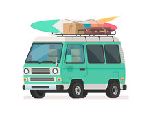 Camper Trip Van . Tourist Minivan With Luggage. Car For Summer Road Travel