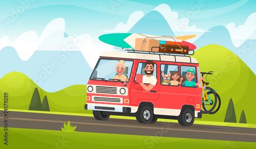 Fotografia, Obraz  Happy family road trip