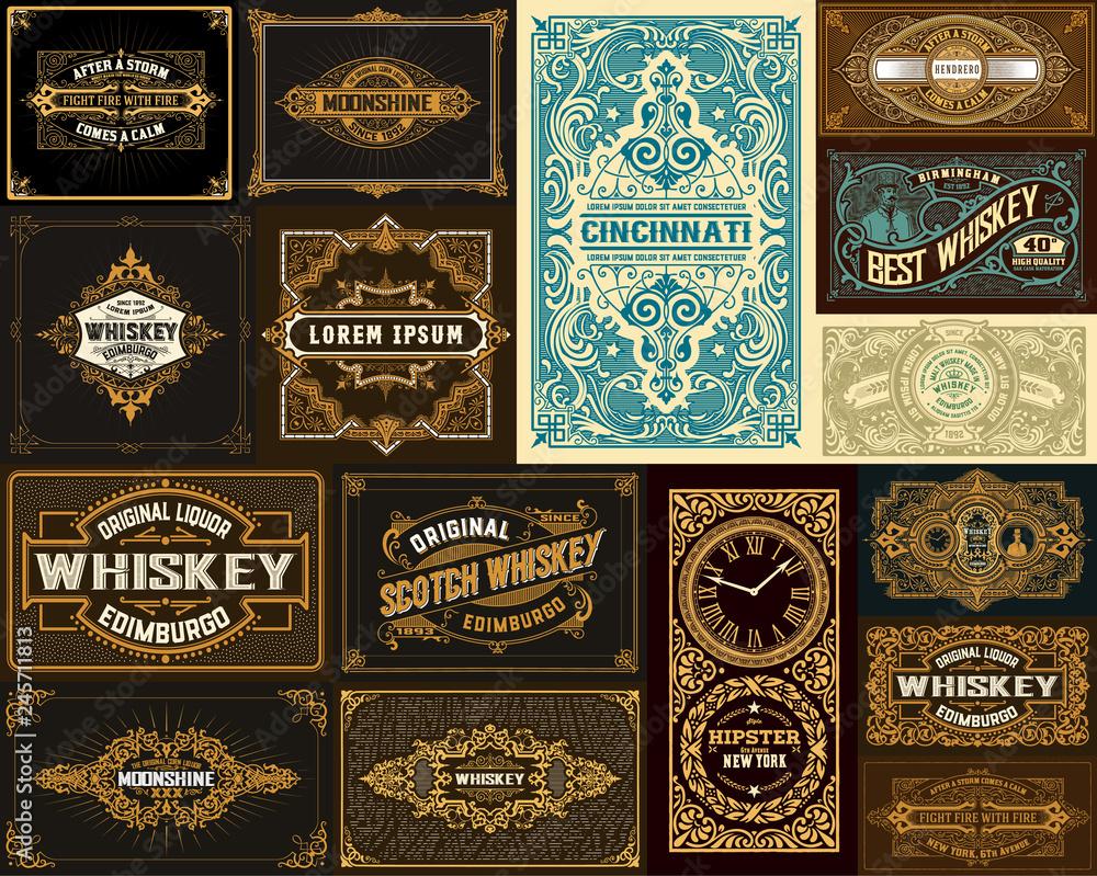 Fototapeta Pack of 16 vintage designs for packing