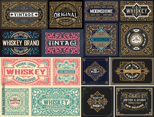 Foto auf Leinwand Retro Pack of 16 vintage labels.