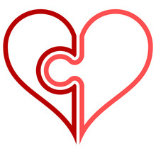 Heart Puzzle Symbol Icon - Red Simple Outlined, Isolated - Vector