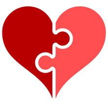 Heart Puzzle Symbol Icon - Red Simple, Isolated - Vector