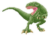 Fototapeta Dinusie - A dinosaur trex 8 bit pixel art video arcade game cartoon character