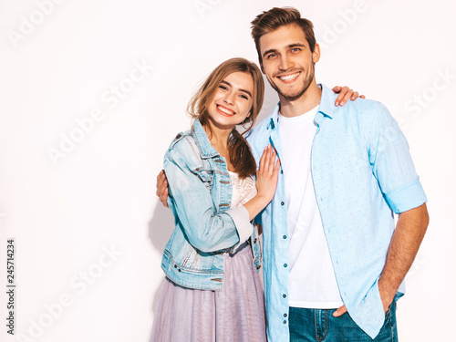 Photo  Portrait of Smiling Beautiful Girl and her Handsome Boyfriend laughing