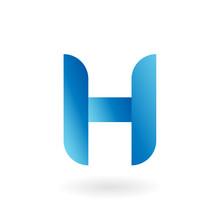 H Letter Blue Flat Vector Logo...