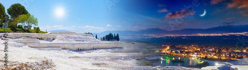 Wall Murals Pale violet Day and night, sun and moon collage of Pamukkale, Turkey