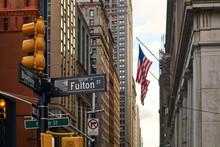 View Of USA Flag On Fulton Str...