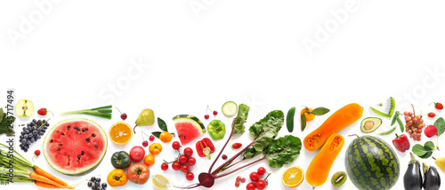 Poster Cuisine Banner from various vegetables and fruits isolated on white background, top view, creative flat layout. Concept of healthy eating, food background.